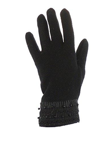 Pretty Mesdames Fashion en laine mélangé gants d'hiver chaud Noir - Black Ribbon
