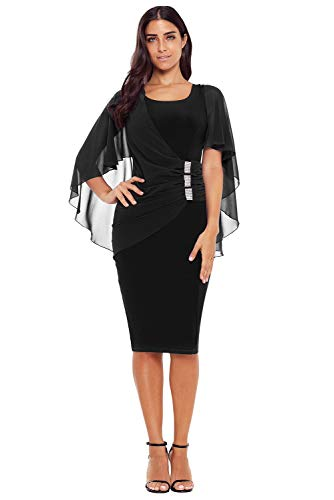 Ovender® vestiti eleganti corti mini da donna ragazza abito vestito donne ragazze impero formale elegante corto per ballo pizzo party cerimonia festa sposa damigella (s, modello 4 nero)
