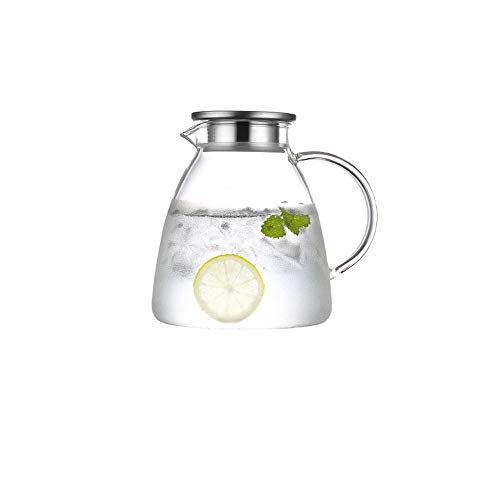 SGXDMsh 1.8 L/Liter Klarglas Flasche Hohe Temperatur Beständig Krug Teekanne Wasser Saft Getränke Blume Tee Krüge Drink Teekanne Glas krug kalten Wasser mit Deckel(Einzeltopf, kein Zubehör)