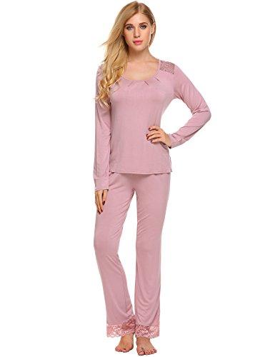 Unibelle Damen Langarm Pyjama Langärmlig Schlafanzug Baumwolle Frauen Spitze Nachtwäsche Altrosa L (Set Langarm-schlafanzug)
