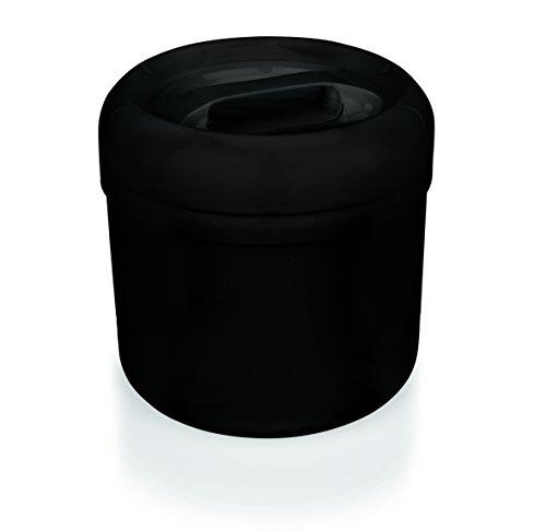Eiseimer, Eisbehälter, Doppelwand, 4 Liter, 23 cm Höhe, 21 cm Ø, SCHWARZ, Kunststoff mit gelochtem Einsatz
