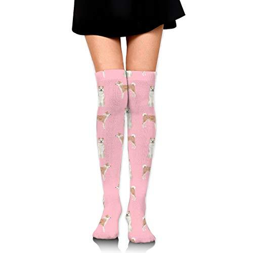Girls Compression Shorts (Knee High Socks Akita Dog Pet Portrait Dog Breeds Pink 23.6 Inchs(60cm) Compression Sock Stockings For Women/Girls)