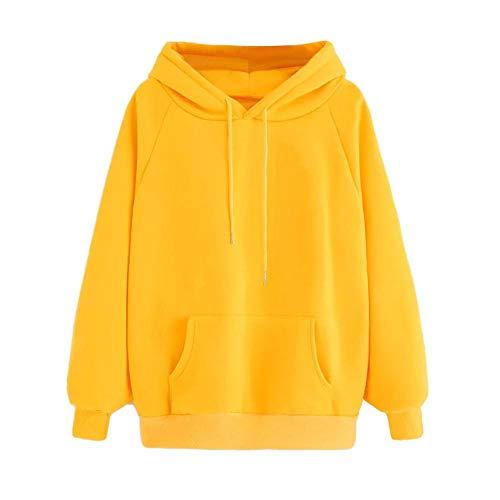 YEBIRAL Damen Herbst Winter Hoodie Frauen Sweatshirt Pullover Oberteile Langarmshirt Kapuzenpullover Mode-Bequem-Casual Pulli mit Kordel und Taschen(S,Gelb) -