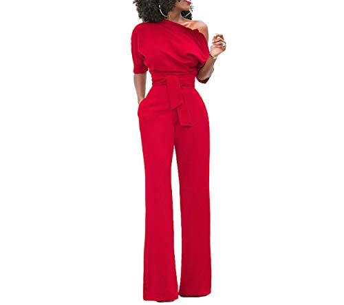 Damen Elegante Jumpsuit Lang Weites Bein Overalls Hoher Taille Spielanzug mit Gurt Halbe HÜlse Weg von Den Schulter, Rot XXL