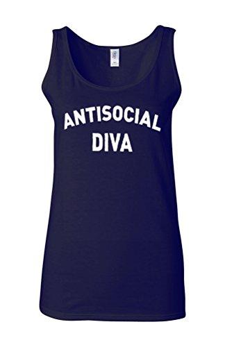 Anti-Social Diva Nerd Novelty Navy Women Damen Unterhemd Tank Top Vest Verschiedene Farben-XXL (Damen Light Diva T-shirt)