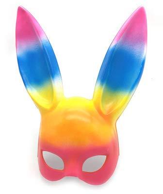 Kostüm Am Besten 2 Face - Alemin Bunny Cosplay Maske, Maskerade Maske für Geburtstagsparty Ostern Halloween Kostüm Zubehör Party Favors, Schulaktivitäten, Ostern Hase Maske (Halloween Kunststoff Hase Ohr Maske (Colorfull)