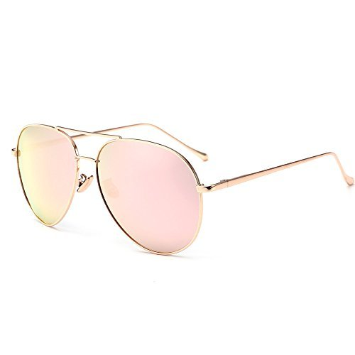 Sungait occhiali da sole donna e uomo aviator polarizzati retro stile protezione uv400 grigio oro/rosa 1603