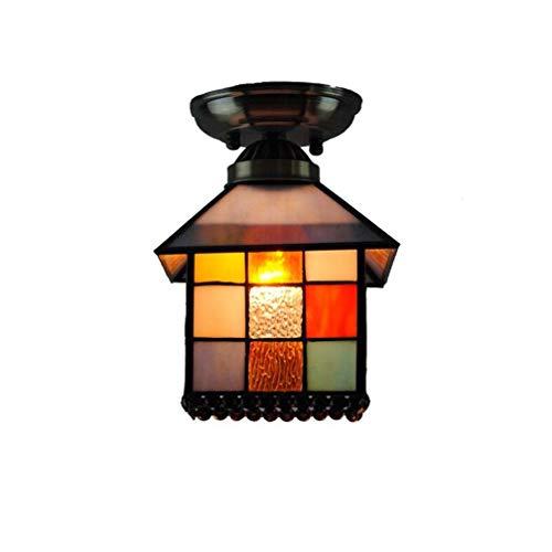 Bronze Flush Mount Decke Licht (Klassische kleine Hausform Tiffany-Stil Deckenleuchte Half Flush Mount, 8 Zoll Glasmalerei Lampenschirm Schmiedeeisen Bronze Deckenplatte Deckenleuchte)