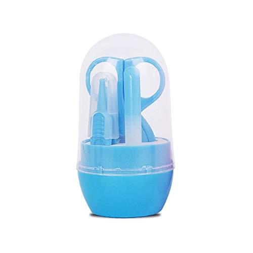BIYI 4 STÜCKE Baby Nagelschere Set Nette Nagelknipser Trimmer Neugeborenen Nagel Sicherheit Schere Nagelpflege Anzug Babypflegeprodukte (blau)