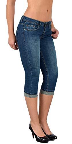 ESRA Damen Capri Jeans Hose Tief Bund Caprihose Kurze Jeans Hose bis Übergröße J470