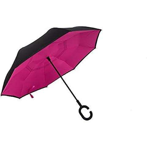 YUMOMO C en forma de asa reversa plegable doble capa de paraguas invertido, protección contra el viento Uv y auto de pie hacia adentro hacia fuera paraguas de protección contra la