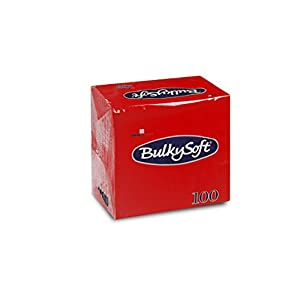 Bulky Soft BS-32610 Servietten 1/4 Falz, 2-lagig, 24 cm x 24 cm, Rot (100-er Pack)