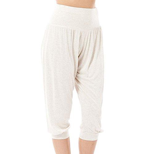 Damen Trikot elastische Taille 3/4 Harem Hosen Beige
