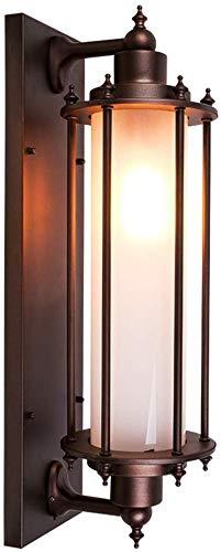 AGWa Vintage Wasserdicht Ip54 Außenwandleuchte E27 Brown Aluminium/Glas Lampshade Zylindrische Außenwandlaterne Zaun Hoftor Flur Eingang Landhaus Wandleuchten 26 * 20 * 60 cm