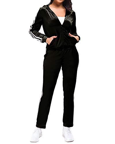 MINTLIMIT Trainingsanzüge Damen Velvet 2 Stück Frauen Reißverschluss Kapuzenpullover Samt Lang Hosen Sport Anzug Set Suit Schwarz 2XL