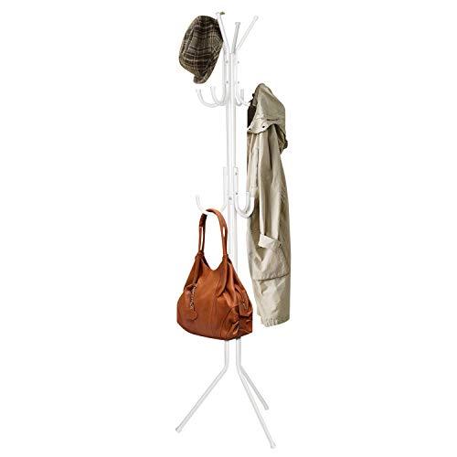 INTEY Kleiderständer Stabil Metall mit 11 Haken Höhe 173 cm Garderobenständer Vintage Kleiderstange Garderobe am Eingang, im Flur, Wohnzimmer, Schlafzimmer (weiß) -