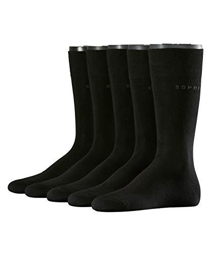 ESPRIT Herren Socken Uni 5-Pack, Baumwollmischung, 5 Paar, Schwarz (Black 3000), Größe: 40-46 -