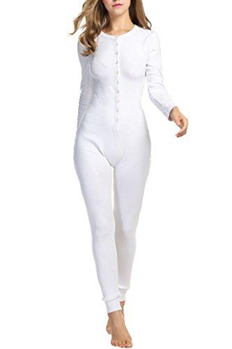3e20184247 UNibelle Damen Strampler Unterwäsche Fleece Onesie Overall Schlafanzug  Nachtwäsche mit Knöpfe Weiß S