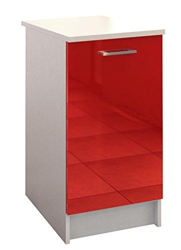 Berlioz Creations Bas Meuble de Cuisine 1 Porte, Panneaux de Particules, Rouge, 40 x 60 x 85 cm