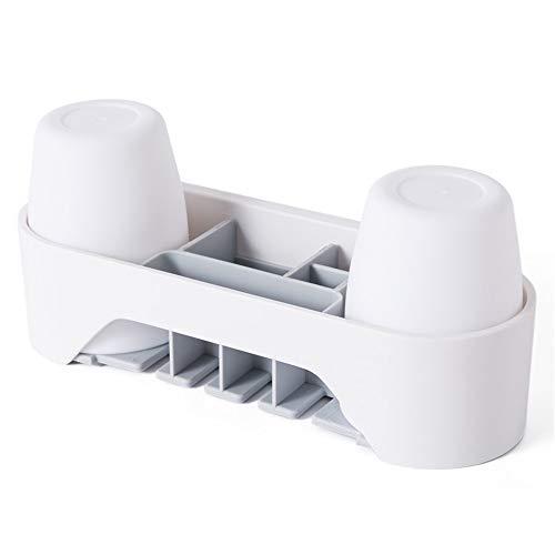 Owenqian Bad Zahnbürstenhalter Bad-Aufbewahrungsbox Anti-Staub mit 3M Selbstklebender, einfach zu montierender Aufbewahrungsbox, 4 Zahnbürstenhalter, 2 Tassen Zahnbürsten-Zahnpastaspender (Kinder Spin-zahnbürste Für)