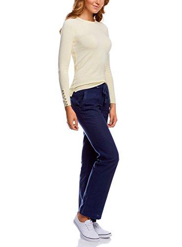 oodji Collection Donna Pantaloni Taglio Ampio in Lino Blu (7900N)