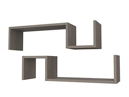 Mensole Rovere Grigio.Ve Ca S R L 2 Mensole In Legno Moderna Design Spessore 2 Cm Rovere Grigio