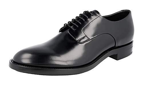 Prada PCU009 Herren Business-Schuhe aus gebürstetem Spazzolato-Leder, Schwarz (schwarz), 43 EU - Männer Schuhe Prada Kleid