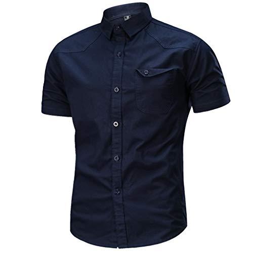 Camicia da Uomo Maniche Corte Slim Fit Estiva Stile Polo Magliette Larghe Manica Corta Modo Casuale (XXL,8- Blu Scuro)