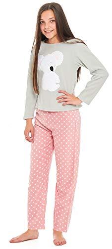 (Slumber Hut® Mädchen Pyjama Schlafanzug Micro Vlies Grey Loungewear Neuheit Motiv Kinder PJs - Koala Bär - Größe 9-10 Jahre)