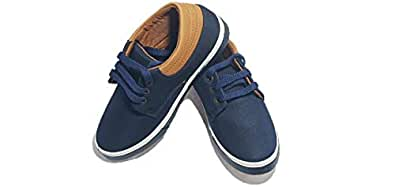 FOOTONREST Kids Synthetic Leather Casual Shoes and Sneakers for Kids and Boys 3 to 12 Years (3.5year, Blue)