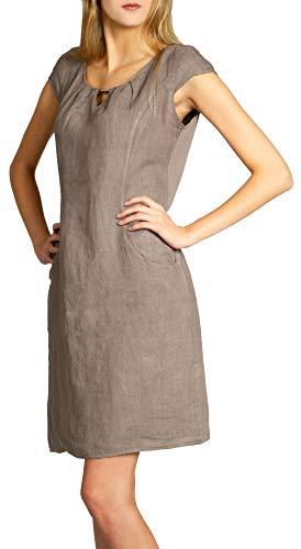Caspar SKL020 knielanges Damen Sommer Leinenkleid mit dezenter Metallspange, Farbe:Taupe, Größe:M - DE38 UK10 IT42 ES40 US8