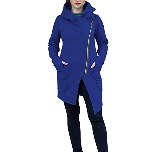 IZHH Damen Mantel, Mode Frauen Winter warme Winterjacke diagonale Reißverschluss Bluse Hoodie mit Kapuze Langhülse Revers Tasche Sweatshirt Mantel Jacke Outwear(Blau,Large)