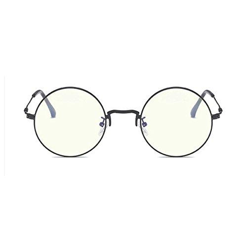 Aoligei Metall Studenten mit Spiegel Abschlag Brillengestell Runde männliche und weibliche Kunst Fan minimalistisch (Metall-filtration)