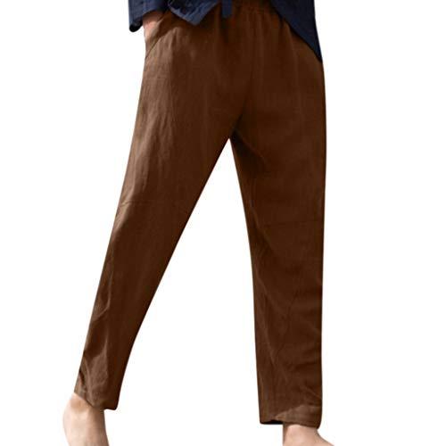 Dwevkeful Hose Männer Hosen Herren Herbst Pants Leinen Stoffhose Lockere Freizeithose Kordel Herrenhosen Lange Chinohose Freizeit Boulderhose Outdoors Übergröße Leinenhose (3XL, Braun) -