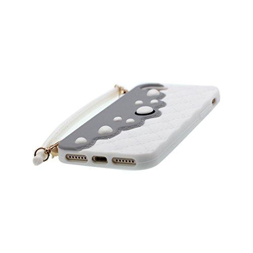 rosso 3D Cartoon borsetta Handbag ) iPhone 7 Plus Custodia, iPhone 7 Plus copertura 5.5 Survivor Protective case / Cartoon Morbido Flessibile TPU Cover Shell Scivolamento di polvere bianca