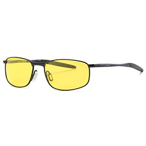 kimorn Polarisierte Sonnenbrille Herren Retro Rechteckig Rahmen Klassisch Unisex Gläser K0535 (Schwarz&Gelb)