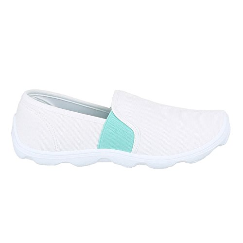 Damen Schuhe, C27-10, HALBSCHUHE SPORTLICHE SLIPPER Weiß