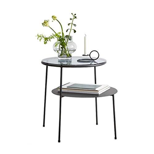 T-Day Beistelltische Nachttisch Tische Couchtisch 2-lagiger runder Beistelltisch mit schwarzem Glasrahmen und Chromrahmen, Durchmesser 40 * Breite 60 * Höhe 50 cm