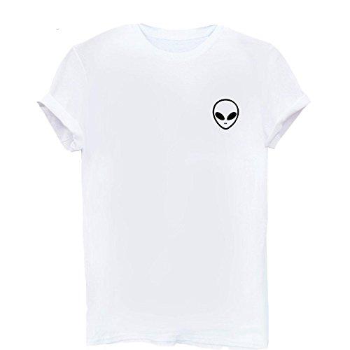 Neue Frauen T-shirt Alien Tasche Druck Baumwolle Lustige Casual Hipster t-Shirt Für Frauen Weiß Schwarz