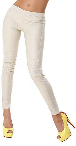 Voyelles Damen Wetlook Hose Stretch Freizeithose Leggings Kunstleder Lederimitat Capri Glanz, Beige L (Leder Snake Leggings)