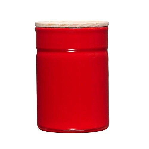 Riess – pot de conservation Klima – Boîte hermétique – Boîte de rangement avec couvercle – Émail/bois – Tomate/Rouge – Ø 8 Cm – 525 ml – Hauteur 12 cm