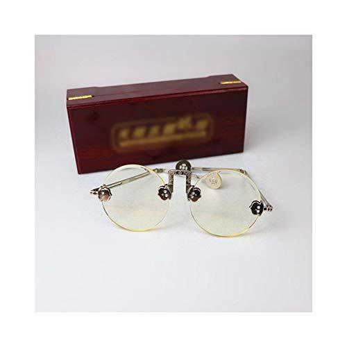 Easy Go Shopping Unisex - Runde Retro Eyelasses, Natürliche Kristalllinse 54MM. Sonnenbrillen und Flacher Spiegel (Farbe : Gelb)