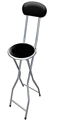 ANZ Folding Breakfast Bar Stool Party Home Office Kitchen Padded High Chair Black - inexpensive UK light shop.