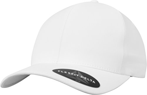Flexfit Delta Baseball Cap, Unisex Basecap aus Polyester für Damen und Herren, Ohne Naht, Wasserabweisend, White, S/M