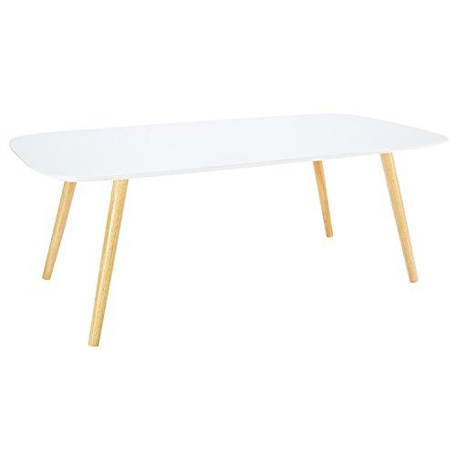 LOMOS® No.15 Mesa de centro de gran tamaño en colour blanco y de madera en el moderno retro-look