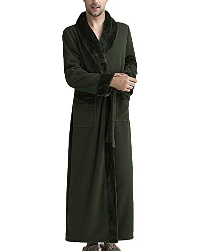 Bata Térmica Super Suave Manga Larga Albornoz Sleepwear,Nightgown Pijama para Hombre Unisex Robe Verde del Ejército M