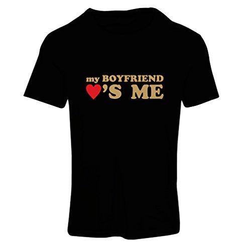 Frauen T-Shirt Mein Freund liebt Mich! Geschenke für Deine Freundin für Valentinstag (XX-Large Schwarz Gold)