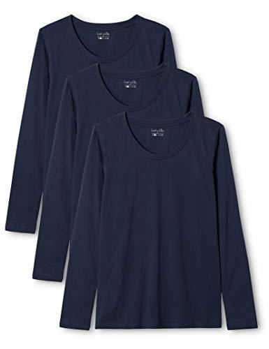 Berydale Damen für Sport & Freizeit, Rundhalsausschnitt Langarmshirt, 3er Pack, Blau (Dunkelblau), Small