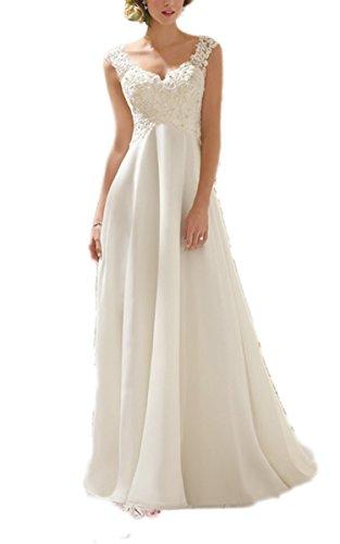 CRAVOG Weiß/Elfenbein Chiffon Backless wulstige Spitze Brautkleid Brautkleid S-XL