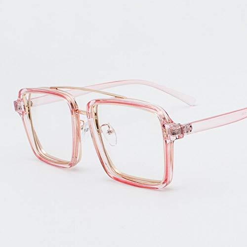 MAGAI Fashion Square Flat Lens Glasses Large Glasses Frame für Frauen (Farbe : Rosa)